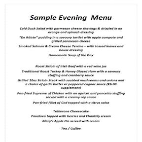 image of hotel sample evening menu
