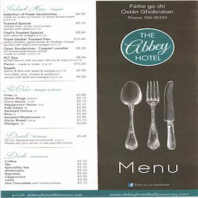 image of hotel bar menu