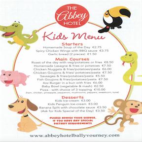 image of hotel confirmation kids menu